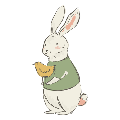 Cute bunny and chick illustration