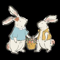 Ilustración linda de conejitos de pascua