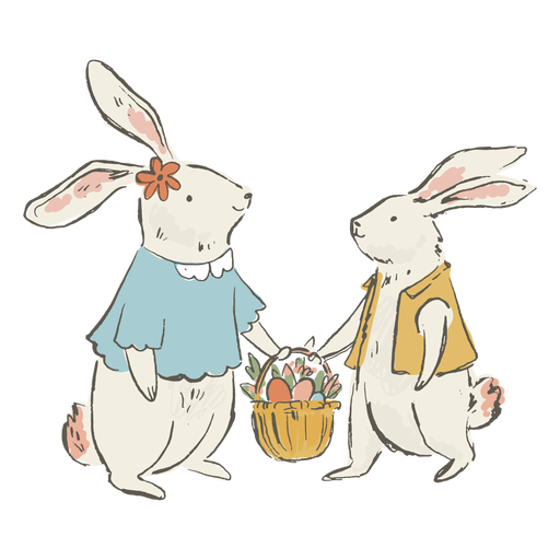 Cute easter bunnies illustration Transparent PNG