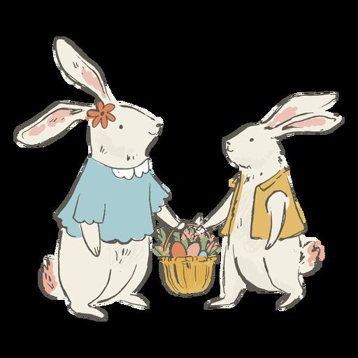 Cute easter bunnies illustration