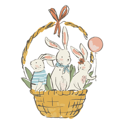 Cute easter bunnies in basket illustration