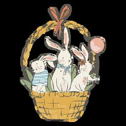 Lindos conejitos de pascua en la ilustración de la cesta