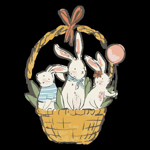 Cute easter bunnies in basket illustration
