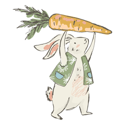 Cute easter bunny carrot illustration