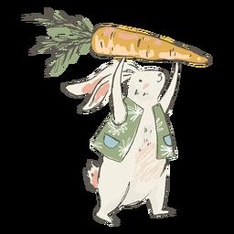 Ilustración linda de la zanahoria del conejito de pascua
