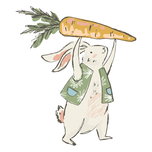 Cute easter bunny carrot illustration