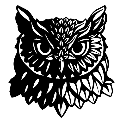 Face owl black and white