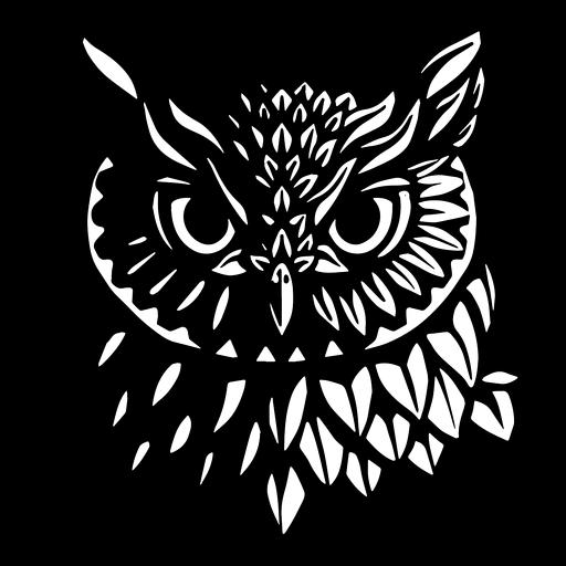Rosto de coruja em preto e branco