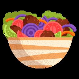 Ilustração de comida árabe de salada de falafel
