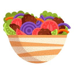 Ilustración de comida árabe de ensalada de falafel