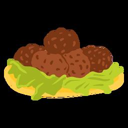 Ilustración de comida árabe falafel