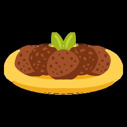 Ilustración de comida árabe de pan de pita de falafel
