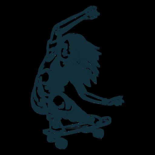 Personaje de patinadora en blanco y negro