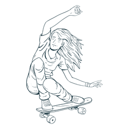 Female skater character hand drawn
