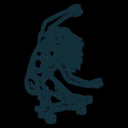 Mão de personagem feminina skatista desenhada
