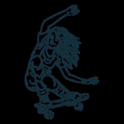 Female skater character hand drawn