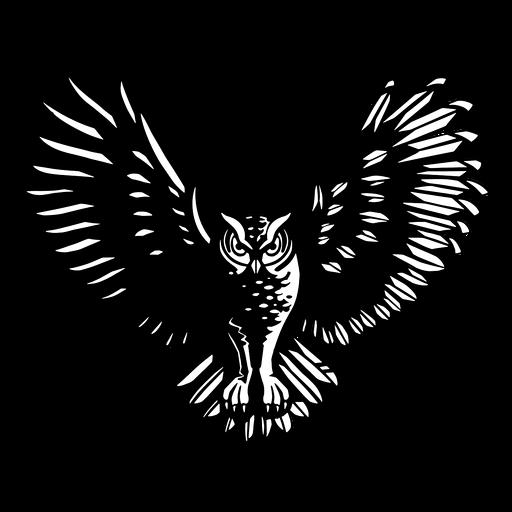 Coruja voadora em preto e branco