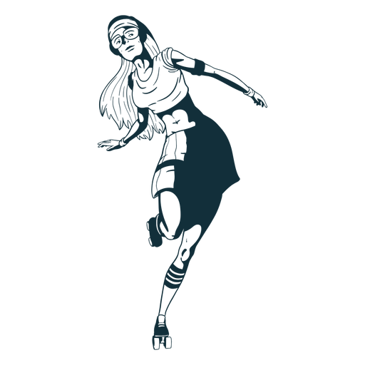 Girl rollerskating character black and white Transparent PNG