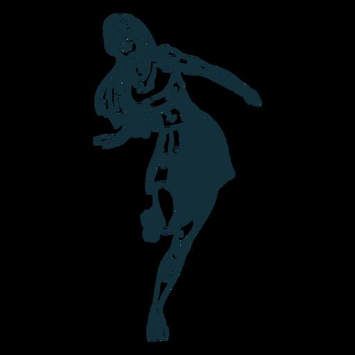 Personagem de patins menina preto e branco Transparent PNG