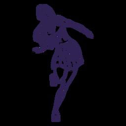 Mädchen Rollerskating Charakter Hand gezeichnet