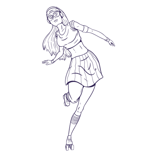 Girl rollerskating character hand drawn