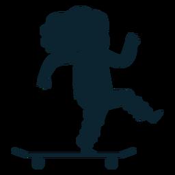 Niña patineta silueta
