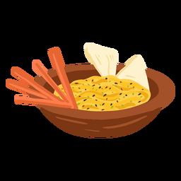Ilustración de comida árabe hummus