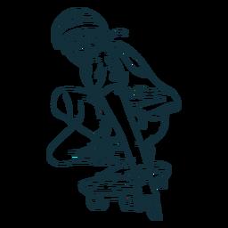 Dibujado a mano personaje patinador masculino