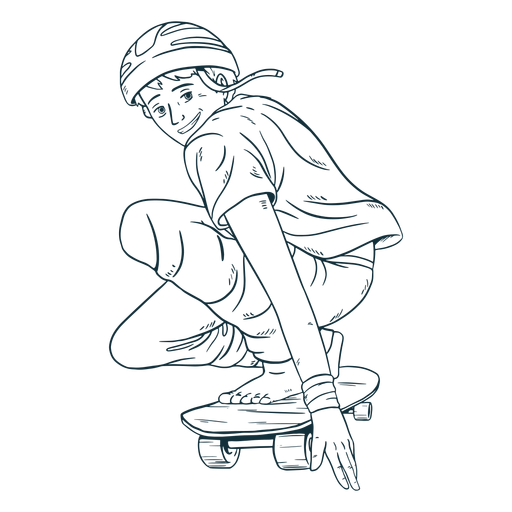 Dibujado a mano personaje patinador masculino Transparent PNG