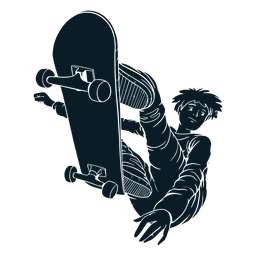 Personagem de truques de skatista masculino preto