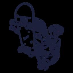 Dibujado a mano personaje de trucos de patinador masculino