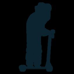 Hombre patada scooter silueta