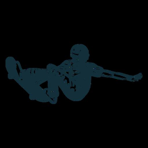 Man skating character black and white Transparent PNG