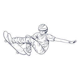 Dibujado a mano personaje de patinaje de hombre