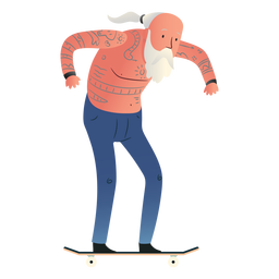Old man skating character