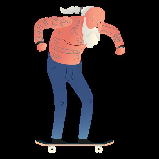 Old man skating character