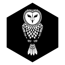 Owl black and white badge