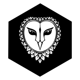 Owl face black and white badge