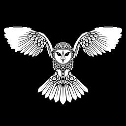 Coruja voando distintivo preto e branco