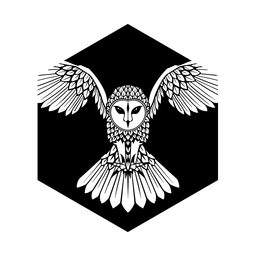 Owl flying black and white badge