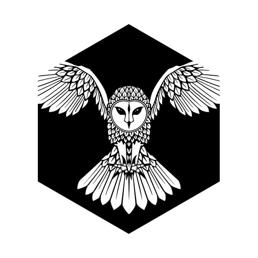 Búho volando insignia blanco y negro