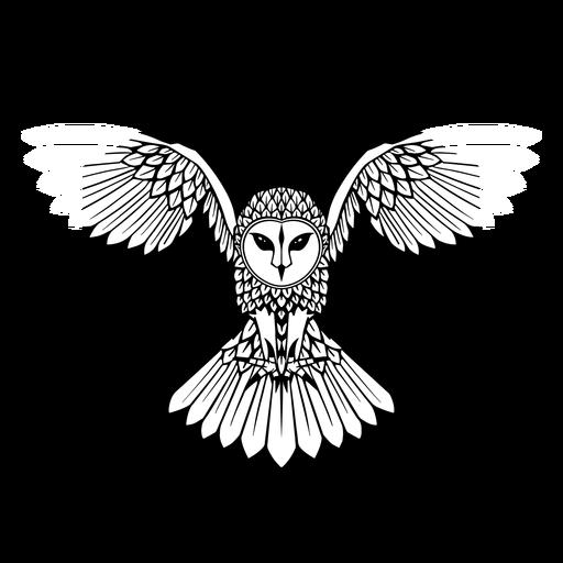 Owl flying black and white badge
