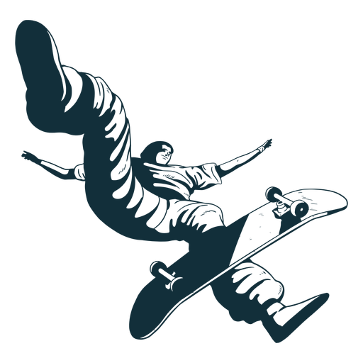 Pro skater character black and white Transparent PNG
