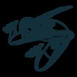 Personagem de patins preto e branco