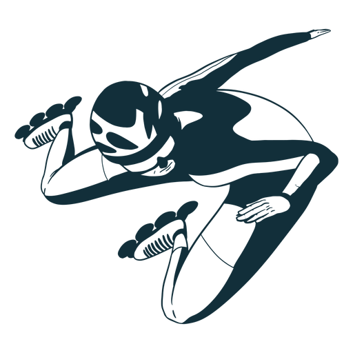 Rollerskater character black and white Transparent PNG