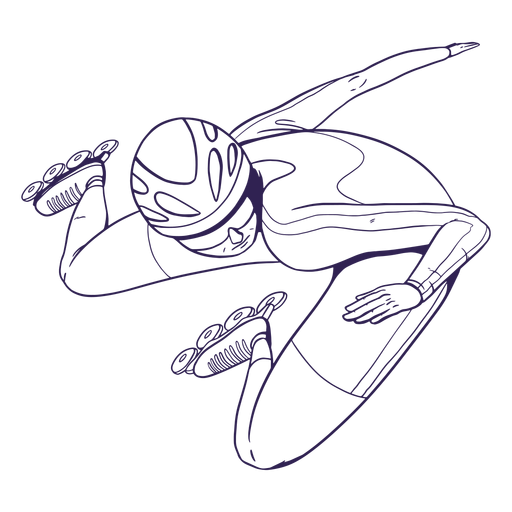 Rollerskater character hand drawn Transparent PNG