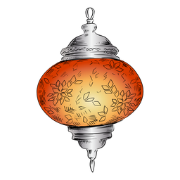 Round arabic lantern illustration