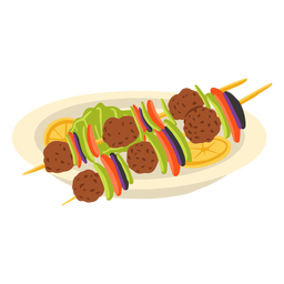 Shish kebab arabic food illustration