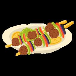 Shish kebab arabic food illustration