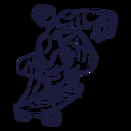 Dibujado a mano personaje patinador